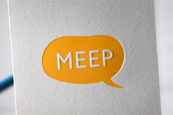 25% OFF SALE Letterpress Note Card Greetings Birthday Hello Bubble Meep - Set of 6