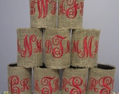 Personalized Monogrammed Burlap Koozies/Coozies