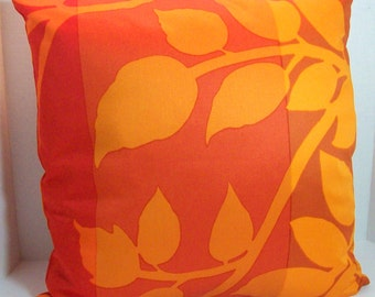 "Vintage Marimekko Throw Pillow Cover, ""MADISON WI"" Sateen Fabric, 18 x 18  inches in red, gold, oranges and browns with an invisible zipper"