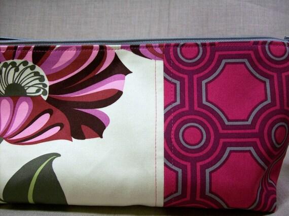 Cosmetic Travel Origami Organizer Zipper Pouch in cream, fuchsia, pinks, gray Size E