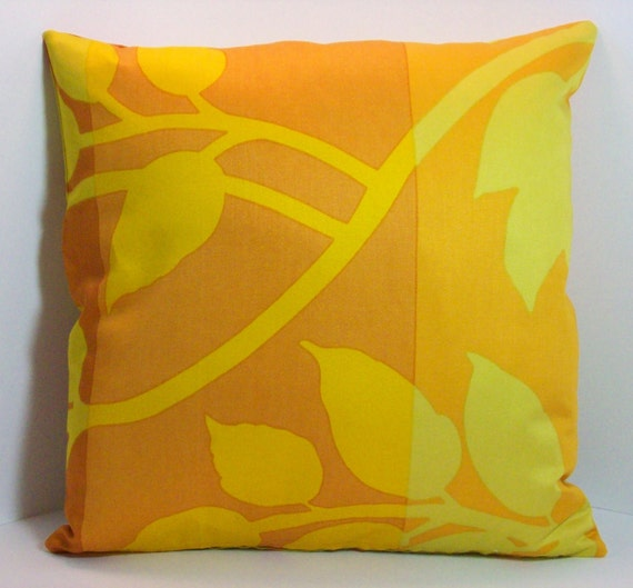Marimekko Leaves Fabric Pillow Cover Gold, Yellow, Browns 16 x 16  inch with zipper closure for bedroom, sofa or chair