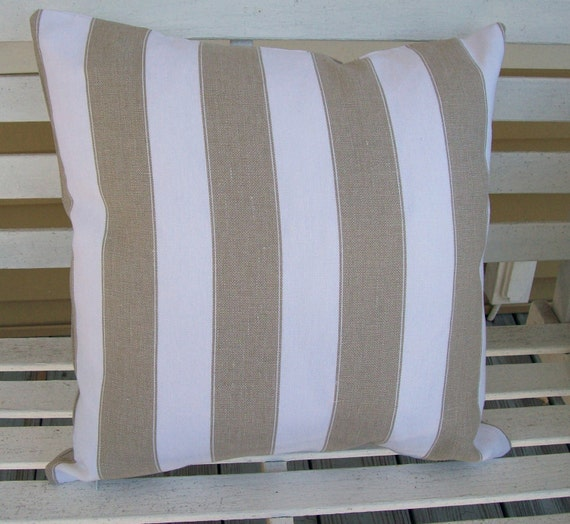 Linen Fabric Pillow Cover With Tan And White Stripes 16 X 16