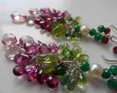 Pink topaz  tourmaline gemstones and pearls dangling earrings with Argentium Silver