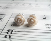 Off White Bridal Rose Flower Earrings