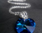 Bermuda Blue Swarovski Crystal Heart Silver Plated Necklace