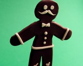 Gingerbread Man - OOAK Handmade Holiday Sculpture - Mustache