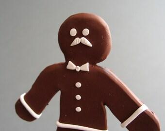 Gingerbread Man - OOAK Handmade Holiday Sculpture - Mustache - Holiday Decor