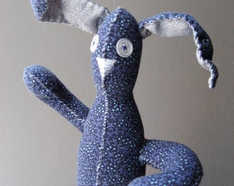 Funny Bunnies -  Blue Bunny Rabbit with Dots - Plush Toy - Gift Basket Item