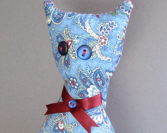 Travel Kitty - Handmade Blue Paisley Plush Toy - Gift - Take me with you