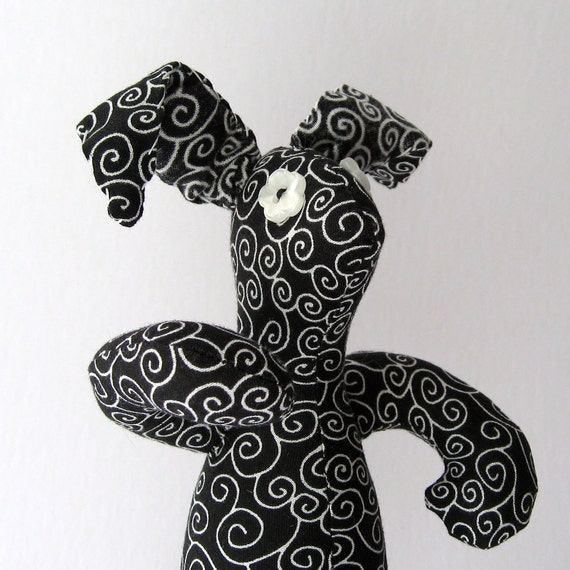 Wild Child Bunny - OOAK Black n White Swirl Dark Rabbit - Plush Toy - Fun Gift