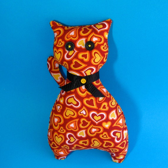 Travel Kitty - Handmade Burning Heart Cat Plush Toy - Gift - Burning Love