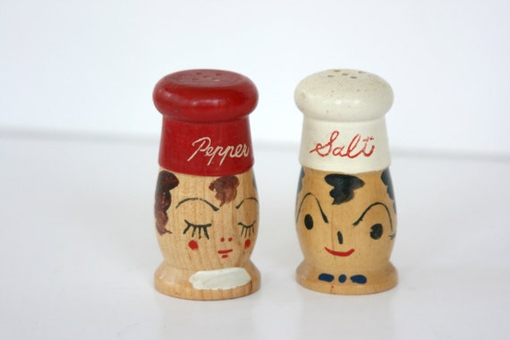 Mr. Salt and Mrs. Pepper Chef Wooden Salt and Pepper Shakers