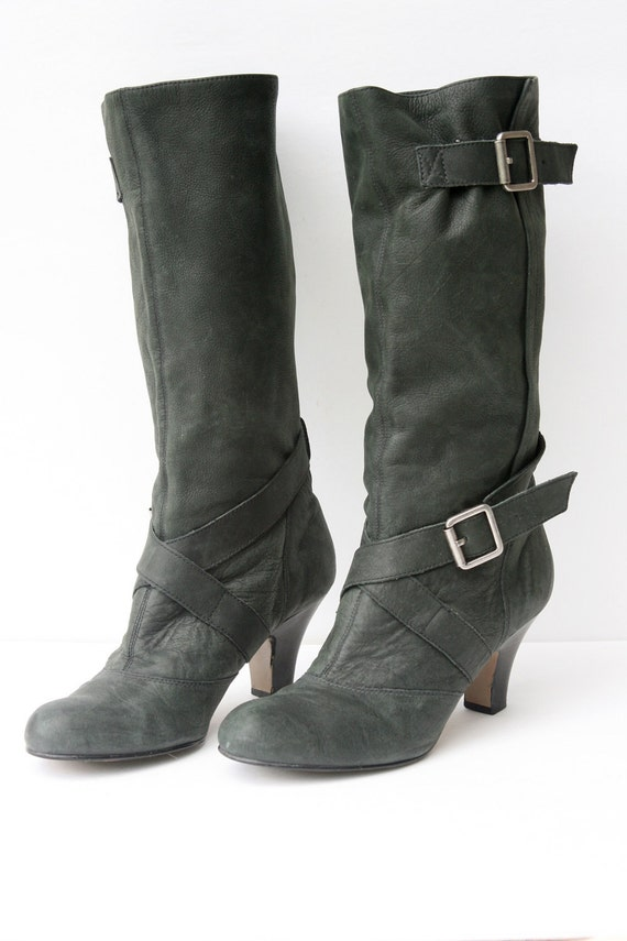 Leather Boots - Dark Green - Women's Size 10 1/2 - Nu-buck Leather