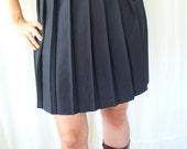 Vintage Black Pleated Skirt - Preppy School Girl