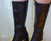 Vintage Brown Leather Boots - Buckle Ankle Straps