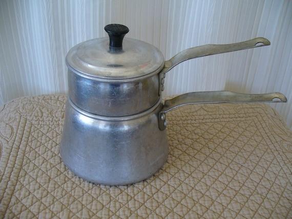 Vintage 50s Double Boiler Aluminum Pot - Wear Ever