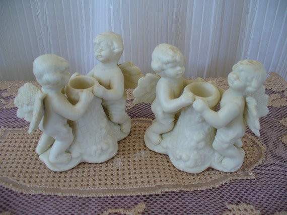 Vintage 50s Ivory Porcelain Bisque Cherub Candle Holders