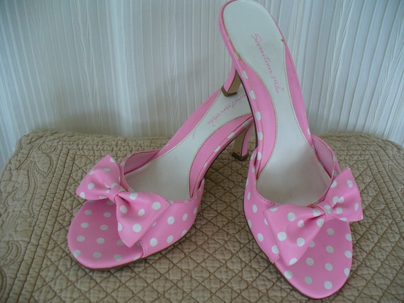 vintage pink polka dot bow shoes kitten heels by vintageriches