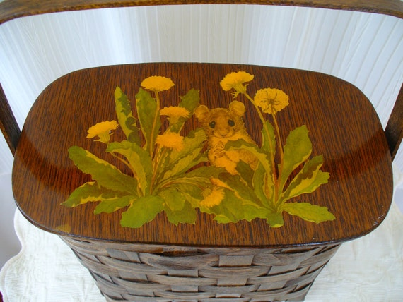 Vintage Woven Painted Picnic Basket - Whimsical Mouse and Dandelion Garden