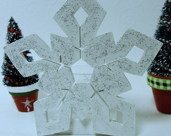 snowflake votive candle decoration, glitter, white sparkles, centerpiece, holiday