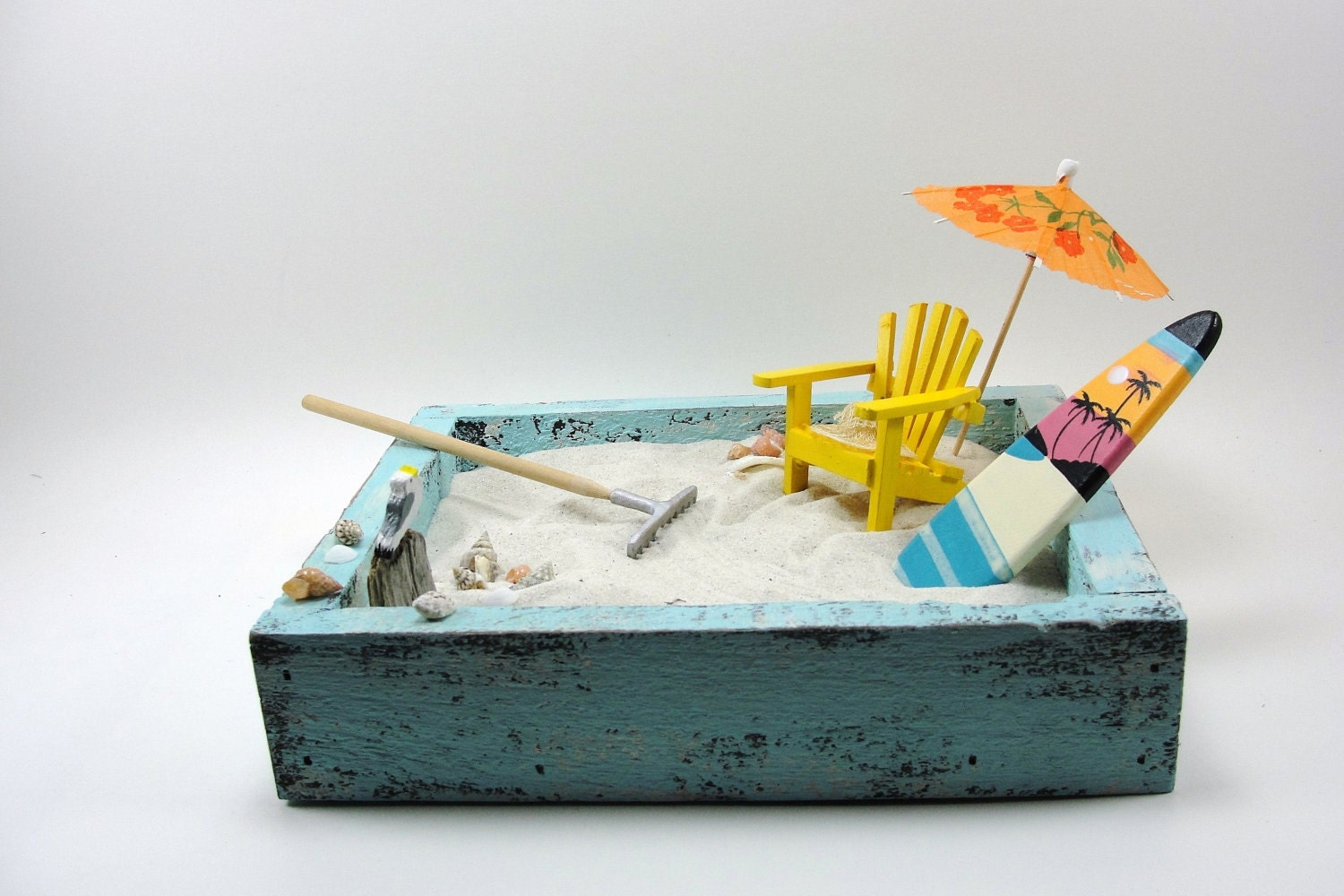 Miniature Zen Beach Garden Shabby Chic Blue Painted Wood