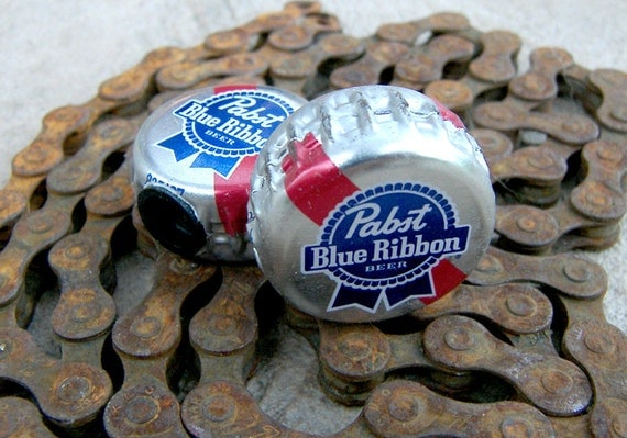 Pabst Blue Ribbon beer bottle cap bicycle tire valve caps