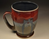 Blue Chicken Mug with Red and Green