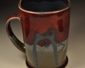 Blue Chicken Mug with Green and Red