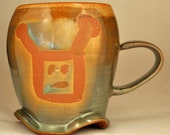 Crazy Green Gold Wavy Robot Mug