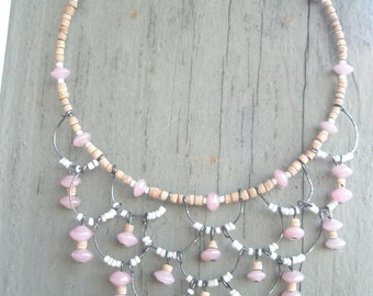 Pearly Pink and White Glass Mermaid Necklace
