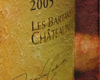 Les Bartavelles Wine label, Original Mixed Media on canvas