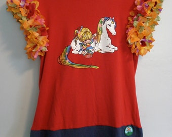 Rainbow Brite Tee With Colorfully Adorned Sleeves