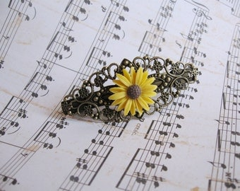 Vintage style barrette with yellow sunflower on antique bronze filigree