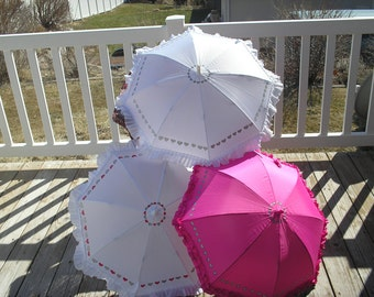 Heart parasols for Rain or Shine or Weddings