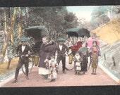 Beautiful Japan Japanese old antique vintage girl geisha rickshaw postcard