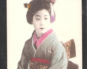 ANOTHER Beautiful Japan Japanese old antique vintage girl geisha kimono postcard 1907
