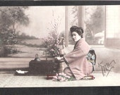 ANOTHER Beautiful Japan Japanese old antique vintage girl geisha kimono postcard used with stamp