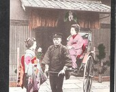 ANOTHER Beautiful Japan Japanese old antique vintage girl geisha rickshaw postcard