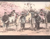 ANOTHER Beautiful Japan Japanese old antique vintage girl geisha rickshaw Jinrikisha postcard