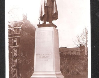American President Roosevelt memorial Statue London England antique English vintage postcard
