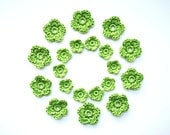 Crochet Flower Applique, Spring Green, Set of 20