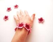 Crochet Bracelet, Crochet Flowers, Pastel Pink Red Wine Bordo