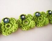 Crochet Flowers Bracelet, Embroidered Spring Green