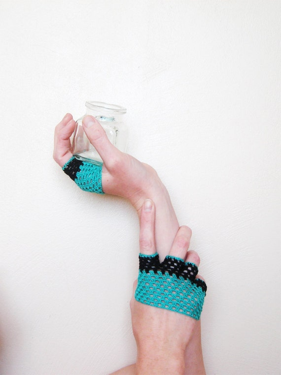 Crochet Hand Accessories, Short Gloves, Green Turquoise Black