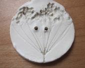 Plain White Seedhead Texture Ceramic Button