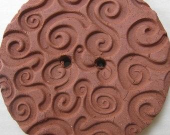 Large Spiral Texture Terracotta Button