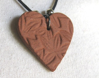 Petal Textured Terracotta Heart Necklace