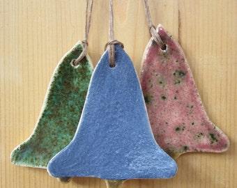 3 Bright Glazed Ceramic Bell Ornaments