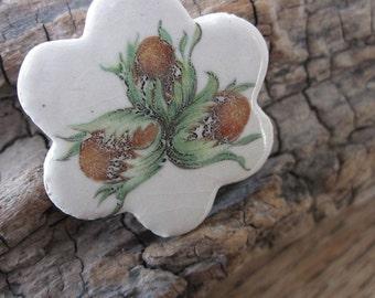 Hazelnut Ceramic Flower Brooch