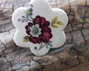 Retro Burgundy Flower Ceramic Flower Brooch